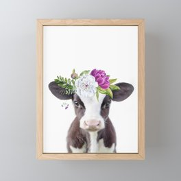 Baby Cow with Flower Crown Framed Mini Art Print