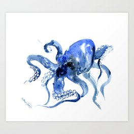Navy Blue Octopus Artwork Art Print