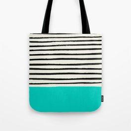 Aqua & Stripes Tote Bag