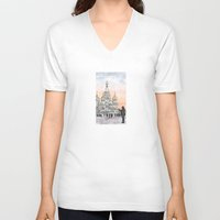 moscow V-neck T-shirts featuring Moscow Sunset by Claire Moose