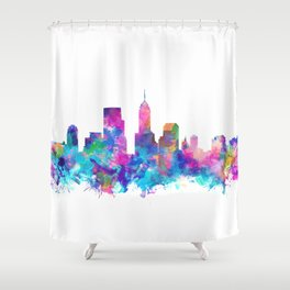 indianapolis city skyline watercolor 4 Shower Curtain