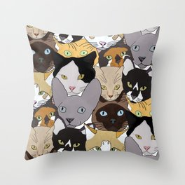 Cat takeover Throw Pillow