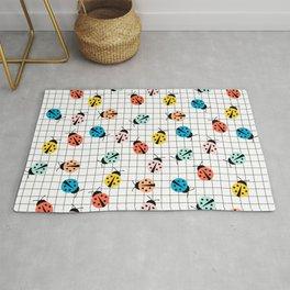 Cute and Colorful Ladybug Print Rug