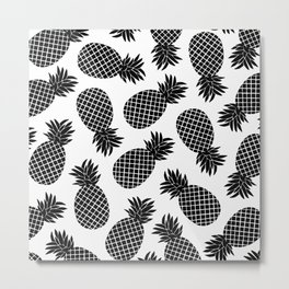 Pineapple In Black Metal Print