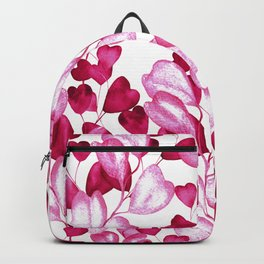 Valentine's Day Red Heart-Shaped Floral Pattern Backpack