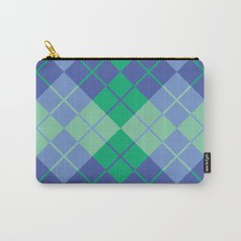 Blue-Green Argyle Carry-All Pouch