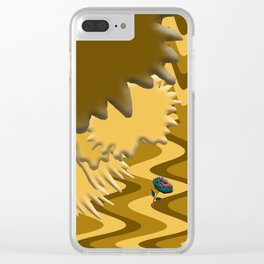 Shades of Brown Waves Clear iPhone Case