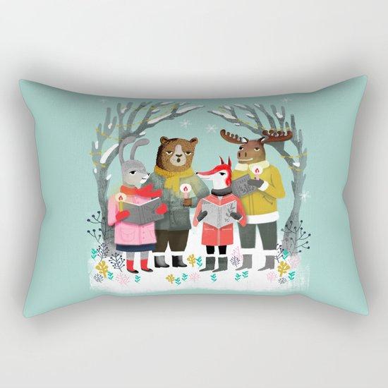 Woodland Christmas Carols by Andrea Lauren  Rectangular Pillow