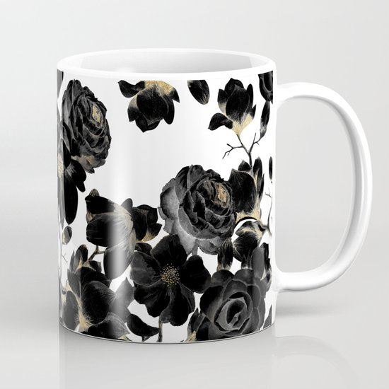 Modern Elegant Black White and Gold Floral Pattern by blackstrawberry