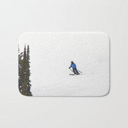 Downhill Skier - Winter Sports Scene Bath Mat