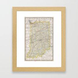 Vintage Map of Indiana (1889) Framed Art Print