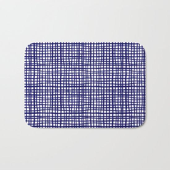 Grid indigo blue bold dramatic modern minimal abstract painting lines gridded pattern print minimal Bath Mat