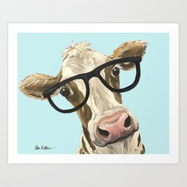 Cute Glasses Cow Up Close Cow With Glasses Art Print