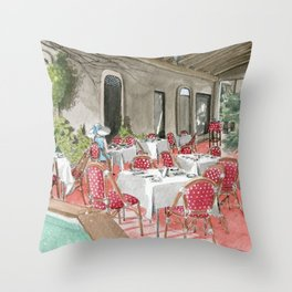 Boca Raton Cafe/ A Woman In A Cafe/ A Woman Is Alone/ A Cafe In Boca Raton Throw Pillow