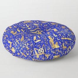 Ancient Egyptian hieroglyphs -Lapis Lazuli and Gold Floor Pillow