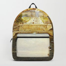 The Pont Royale and The Louvre, View of the Seine by Firmin-Girard Backpack