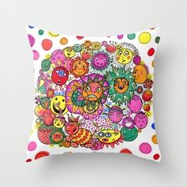 Circle of Circular Stuff Doodle Throw Pillow