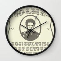 sherlock holmes Wall Clocks featuring Sherlock Holmes by SuperEdu