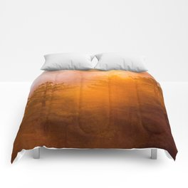 Golden Morning Glory Forest Comforters
