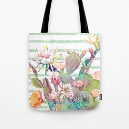 Watercolor cactus, floral and stripes design Tote Bag
