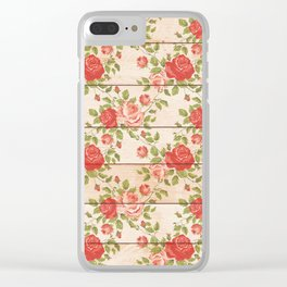 Roses On Wood Chic Pattern Clear iPhone Case