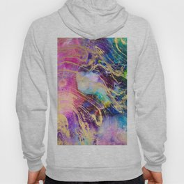 Modern gold marble on pastel pink purple watercolor nebula paint Hoody