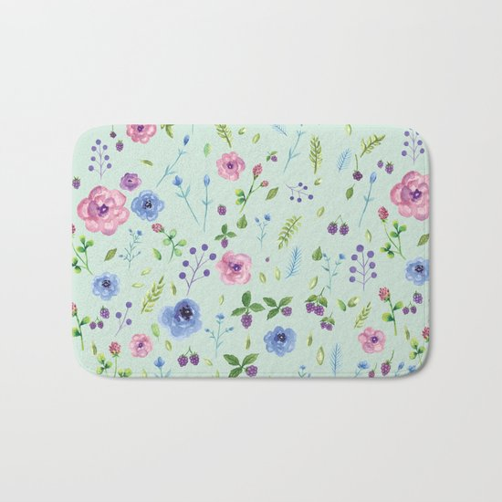 Watercolor flowers on mint Bath Mat