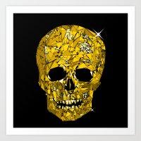 Yellow Geometric Skull Art Print