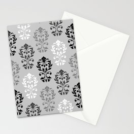 Heart Damask Art I Ptn Black White Greys Stationery Cards