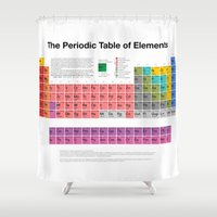 periodic table Shower Curtains featuring The Periodic Table of Elements by moleculestore