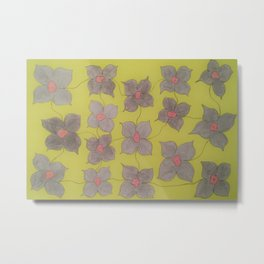 Grey and Yellow Floral Metal Print