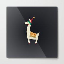 Christmas llama Hat Metal Print