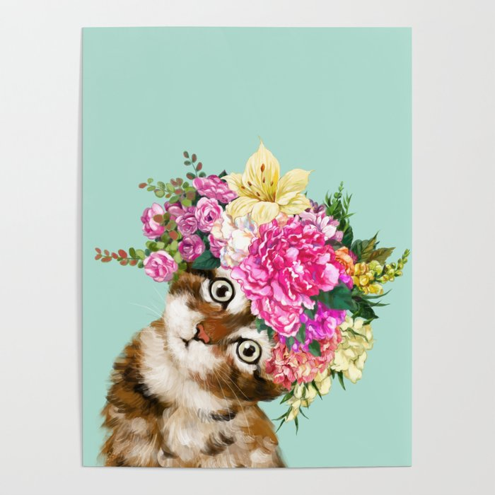 Flower Crown Baby Cat in Green Poster