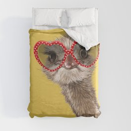 Fashion Hipster Ostrich in Yellow Duvet Cover