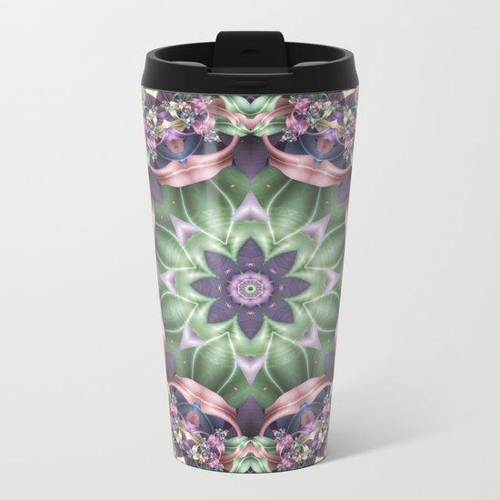 Fractal Ribbon Mandala in Purple, Green, Pink and Yellow Metal Travel Mug