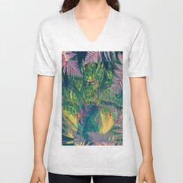 Abstract Floral Fern Tree Fairyland Unisex V-Neck