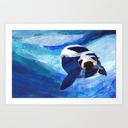 Swimming Seal Art Print