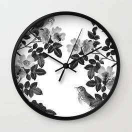 Birds and the Bees Black and White Wall Clock