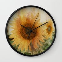 sunflower Wall Clocks featuring sunflower by VanessaGF