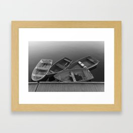 Four Skiffs B&W Framed Art Print