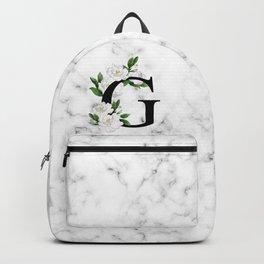 Letter 'G' Gardenia Flower Monogram Backpack