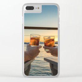 Sailing sunset couple toasting Clear iPhone Case