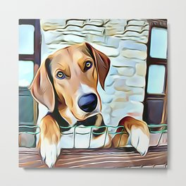 English Foxhound Waiting Patiently To Go Fox Hunting Metal Print