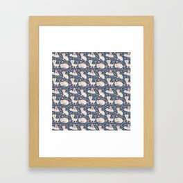 Cute pink brown blue hand painted floral cats Framed Art Print