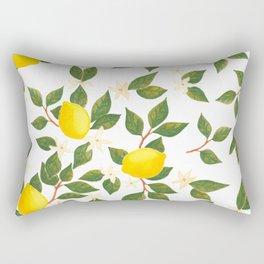 Lemon Citrus Watercolor // Green Yellow Palette Rectangular Pillow