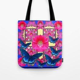 CERISE PINK & BLUE BUTTERFLIES FLORAL ART Tote Bag