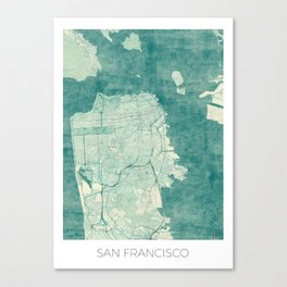 San Francisco Map Blue Vintage  Canvas Print