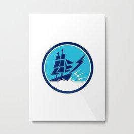 Tall Sailing Ship Lightning Bolt Circle Metal Print