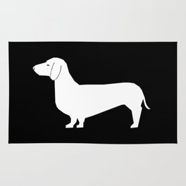 Dachshund silhouette minimal black and white dog lover home decor gifts accessories silhouette Rug
