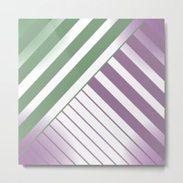 Green and Violet Stripes Metal Print